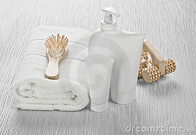White set with hairbrush and massager