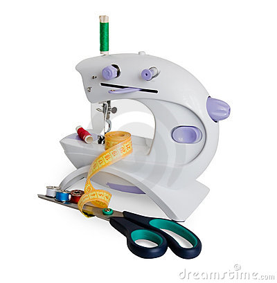 A white sewing machine. Isolate over white