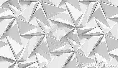 White shaded abstract geometric pattern. Origami paper style. 3D rendering background. Stock Photo