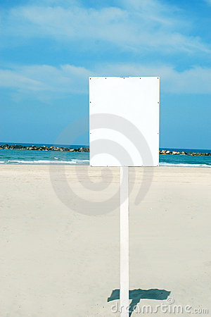 White Sign on the beach