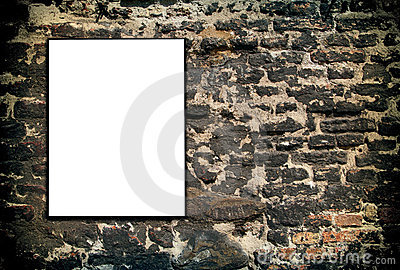 White sign on brick wall