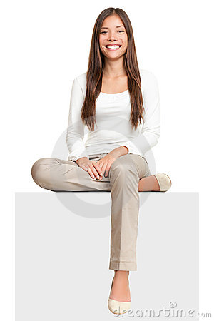 Free White Sign Woman Sitting On Billboard Stock Image - 18178991