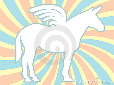 White Silhouette Unicorn Swirl Vector Illustration