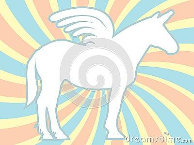 White Silhouette Unicorn Swirl Vector Illustration
