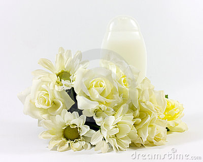 lotion and flowers
