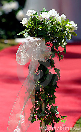 White silk roses wedding posy