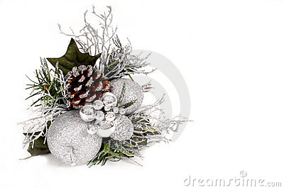 White, silver and green Christmas Ornament with pine cone