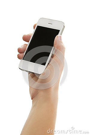 White smart phone, Isolated