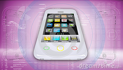 White smartphone on a high-tech pink background