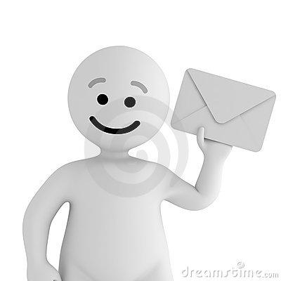 White smile character stay with mail