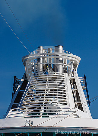 White Smokestack on Cruise Ship