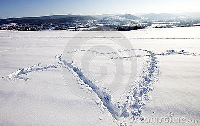 White snow with heart shape