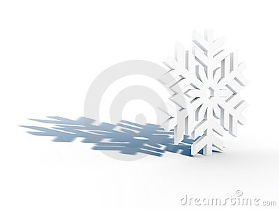 White snowflake with blue shadow