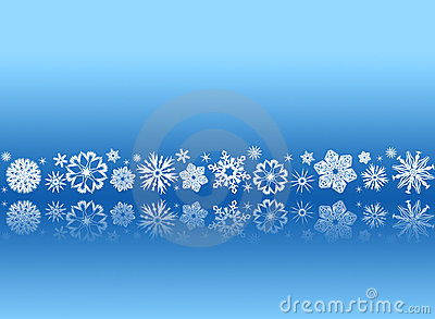 White snowflakes on blue with reflections