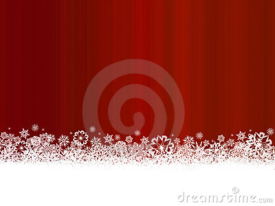 White snowflakes on dark red background