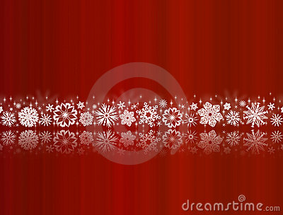 White snowflakes on red with reflections