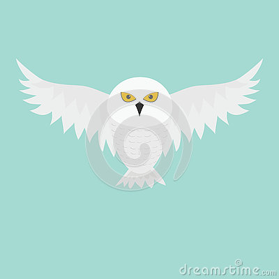 Free White Snowy Owl. Flying Bird With Big Wings. Yellow Eyes. Arctic Polar Animal Collection. Baby Education. Flat Design. Isolated. B Stock Photo - 74846530