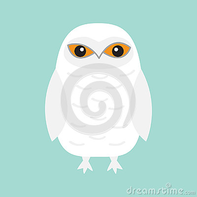 Free White Snowy Owl. Sitting Bird With Wings. Snow Barn. Yellow Eyes. Arctic Polar Animal Collection. Baby Education. Flat Design. Iso Stock Image - 98842481