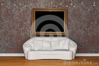 White sofa with antique frame
