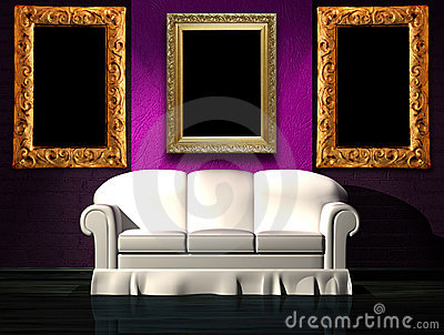 White sofa with purple part of the wall and frames