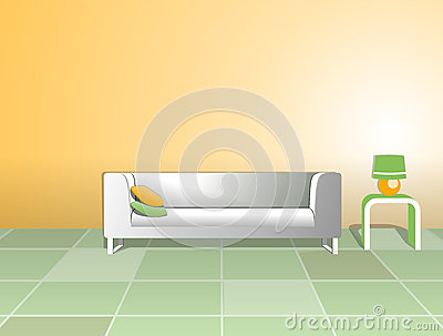 White sofa and table with lamp