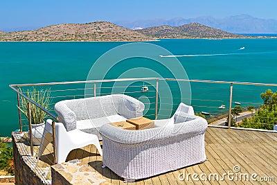 White sofas at Mirabello Bay on Crete