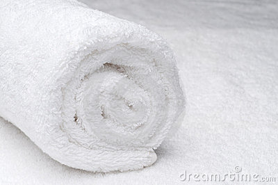 A white spa towel