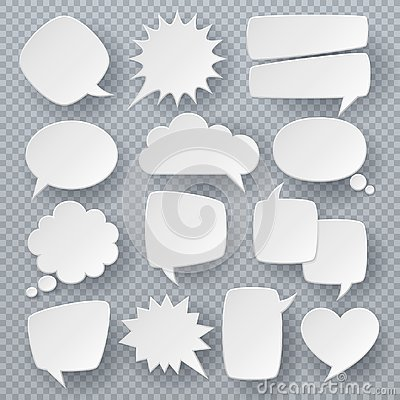 White speech bubbles. Thought text bubble symbols, origami bubbly speech shapes. Retro comic dialog clouds vector set Vector Illustration