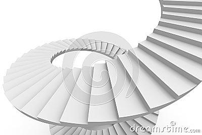 White spiral stair.