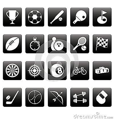 White sport icons on black squares