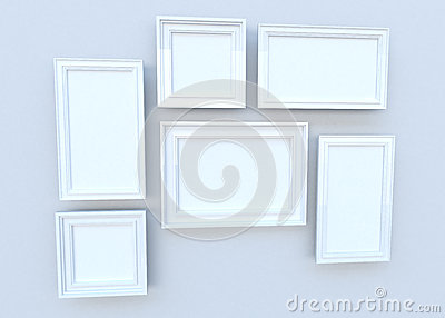 White sqaure frames on the wall (3D)