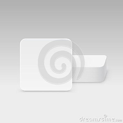 Free White Square Blank Beer Coasters Vector  Stock Image - 60551021