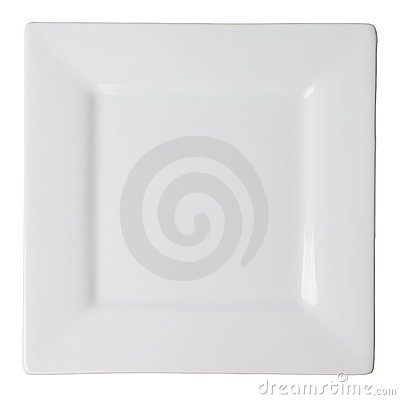 Free White Square Plate (isolated, With Clipping Path) Royalty Free Stock Image - 5195916