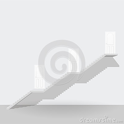 Free White Stair Up To Three Steps Door Business Concept Stock Images - 59150254
