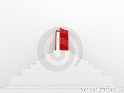 White staircase to open red door