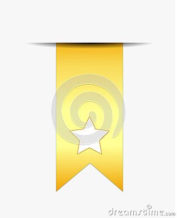 White star on gold ribbon tail