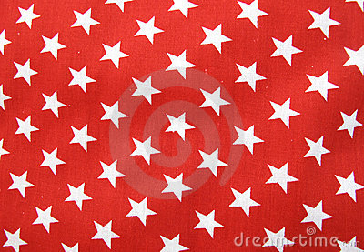 White stars on red cloth material
