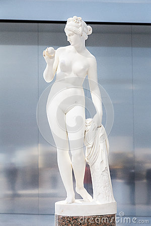 White statue of a female in the Louvre Lens Editorial Stock Photo