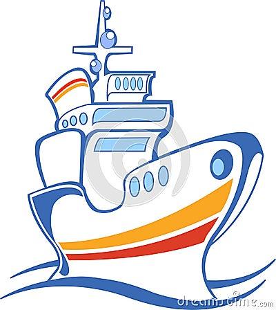 White steamship, line art, icon