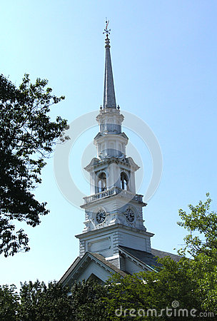 Free White Steeple Of Church In Downtown Keene, New Hampshire. Stock Image - 59489441