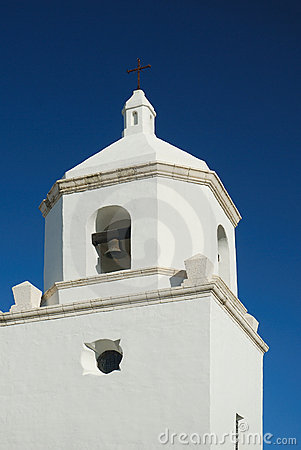White stone church bell tower