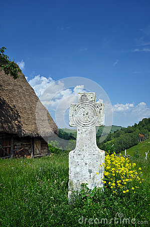 White stone cross in the outdoors