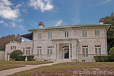 White stone mansion