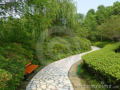 White stone path with bench