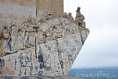 White stone ship shaped Monument to the Discoveries in Lisbon Po