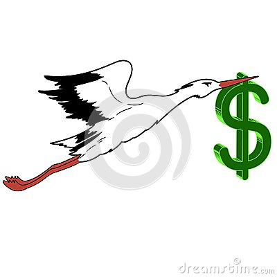 White Stork with in flight the dollar in its beak.