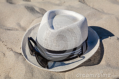White Straw Fedora with Sunglasses on Beach
