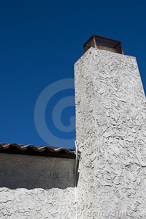 White Stucco Chimney Stock Image Image Of Concrete Clean