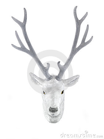 White stuffed deer head