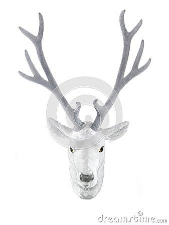 White stuffed deer head